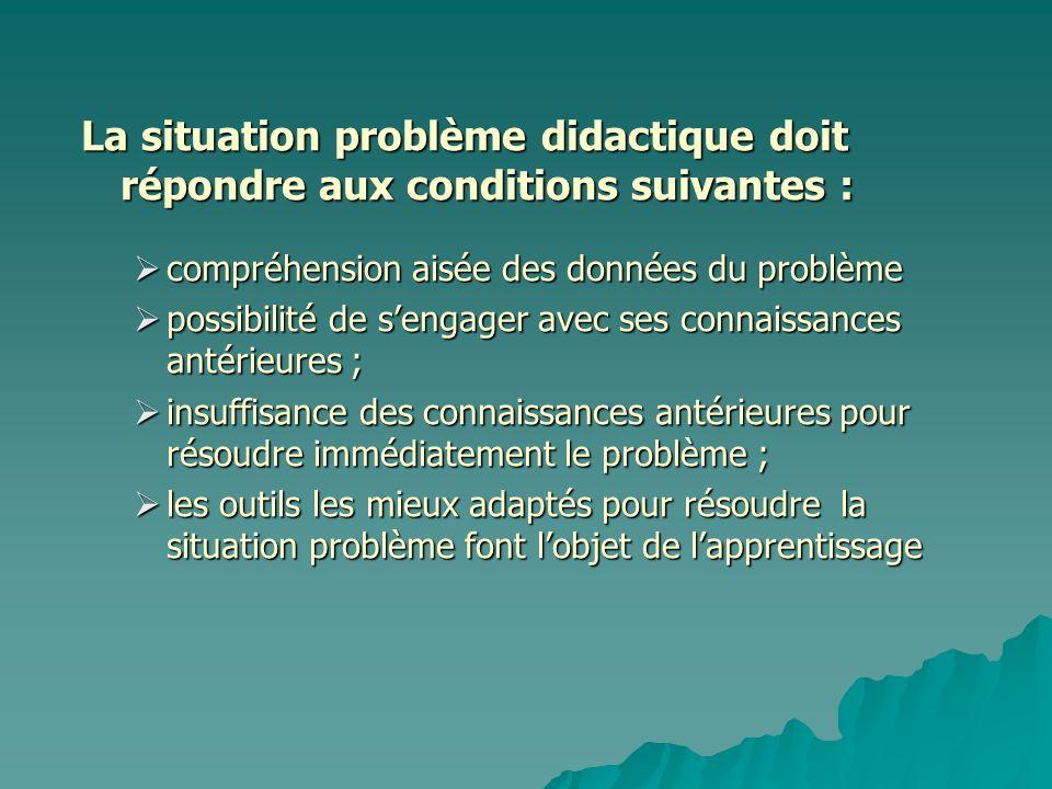 La situation problème didactique doit répondre aux conditions suivantes : compréhension aisée des données du problème compréhension aisée des données