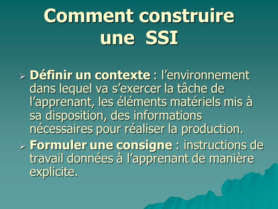 Comment construire une SSI Définir un contexte : lenvironnement dans lequel va sexercer la tâche de lapprenant, les éléments matériels mis à sa dispos