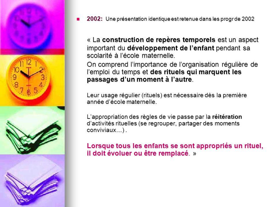 2002: Une présentation identique est retenue dans les progr de 2002 2002: Une présentation identique est retenue dans les progr de 2002 « La construct
