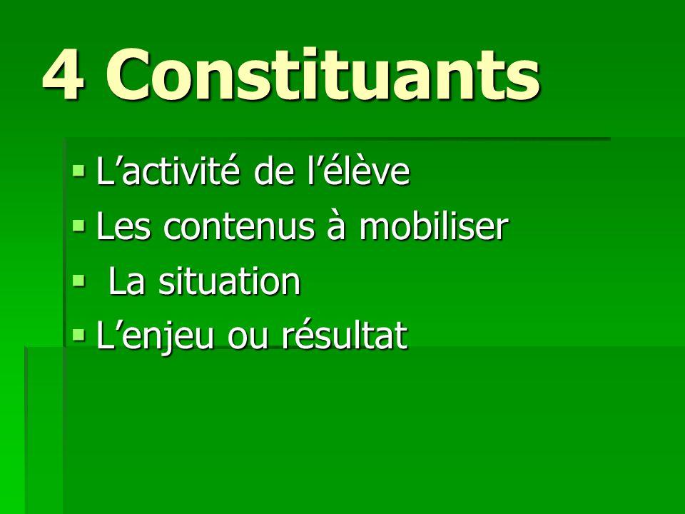 4 Constituants Lactivité de lélève Lactivité de lélève Les contenus à mobiliser Les contenus à mobiliser La situation La situation Lenjeu ou résultat
