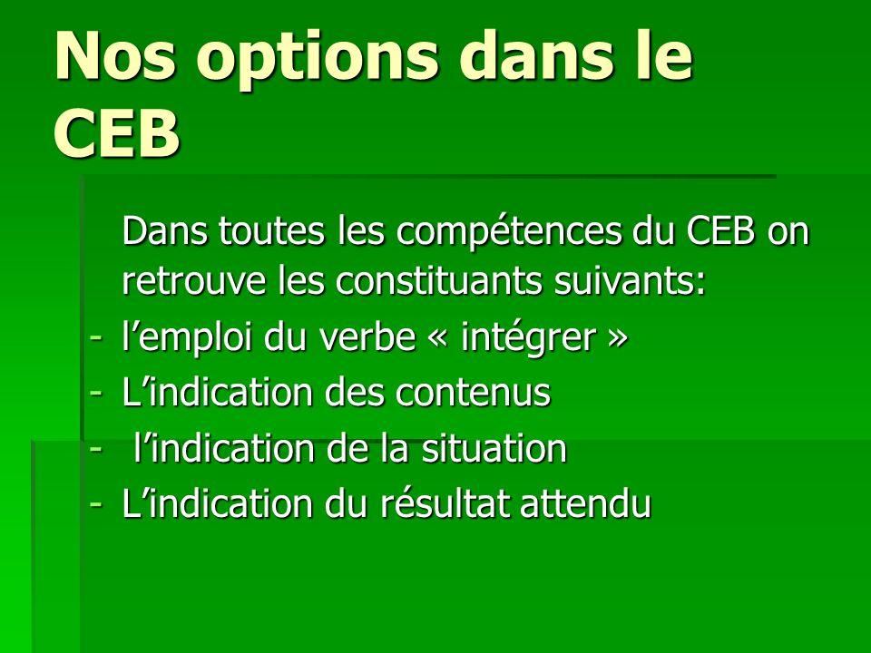 Nos options dans le CEB Dans toutes les compétences du CEB on retrouve les constituants suivants: -lemploi du verbe « intégrer » -Lindication des cont