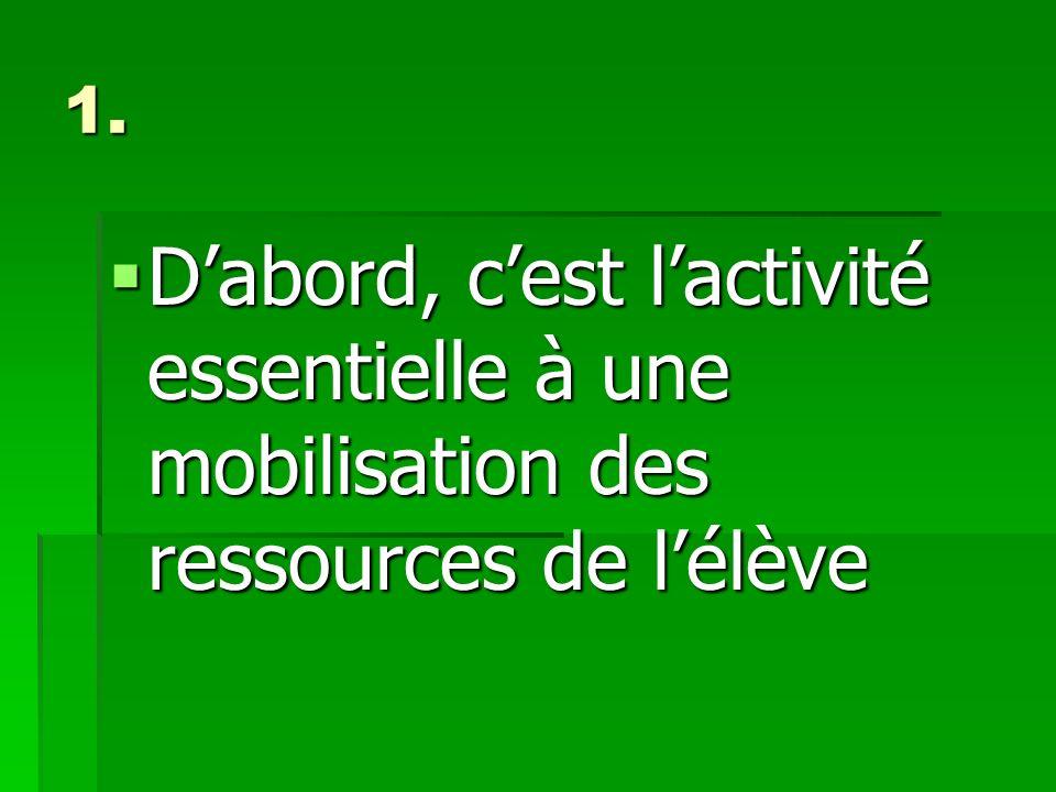 1. Dabord, cest lactivité essentielle à une mobilisation des ressources de lélève Dabord, cest lactivité essentielle à une mobilisation des ressources