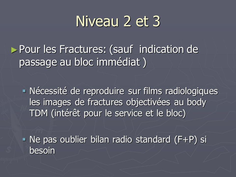 Niveau 2 et 3 Pour les Fractures: (sauf indication de passage au bloc immédiat ) Pour les Fractures: (sauf indication de passage au bloc immédiat ) Né