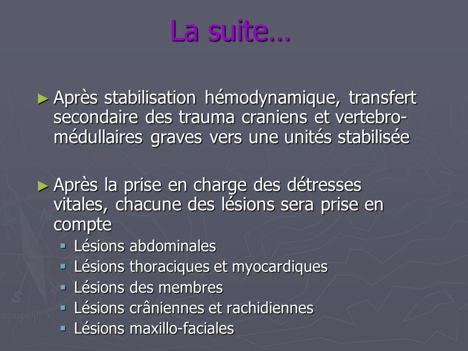 La suite… Après stabilisation hémodynamique, transfert secondaire des trauma craniens et vertebro- médullaires graves vers une unités stabilisée Après