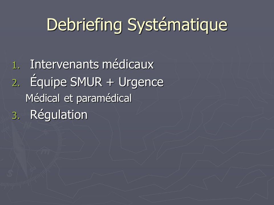 Debriefing Systématique 1. Intervenants médicaux 2. Équipe SMUR + Urgence Médical et paramédical 3. Régulation