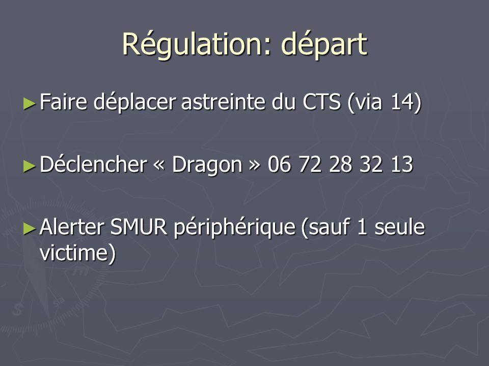 Régulation: bilan Régulation: Si possible reg AMU transmet la gestion de laffaire au Med SMUR 2 (qui reste potentiellement sortant) Si possible reg AMU transmet la gestion de laffaire au Med SMUR 2 (qui reste potentiellement sortant) Si SMUR2 devient engagé, Si SMUR2 devient engagé, la régulation pré-hospitalière est redonnée au reg AMU la régulation pré-hospitalière est redonnée au reg AMU lorganisation intra-hospitalière revient au médecin SAUV lorganisation intra-hospitalière revient au médecin SAUV Communication avec les équipes pré-hospitalières: Communication avec les équipes pré-hospitalières: Bilan dambiance précoce Bilan dambiance précoce Alerte Med SAU précoce Alerte Med SAU précoce Sassurer du timing Sassurer du timing De médecin à médecin dans la mesure du possible De médecin à médecin dans la mesure du possible