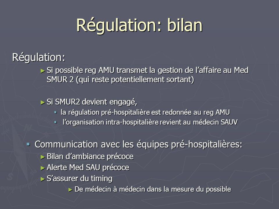 Régulation: bilan Régulation: Si possible reg AMU transmet la gestion de laffaire au Med SMUR 2 (qui reste potentiellement sortant) Si possible reg AM
