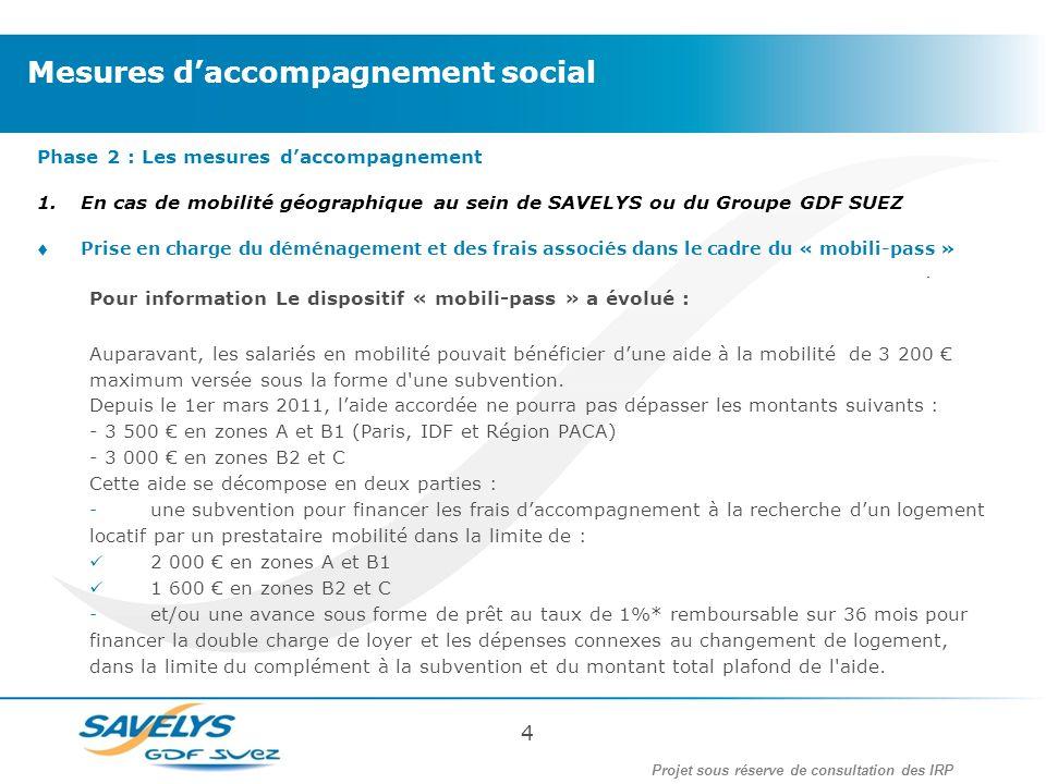Phase 2 : Les mesures daccompagnement 1.En cas de mobilité géographique au sein de SAVELYS ou du Groupe GDF SUEZ Prise en charge du déménagement et de