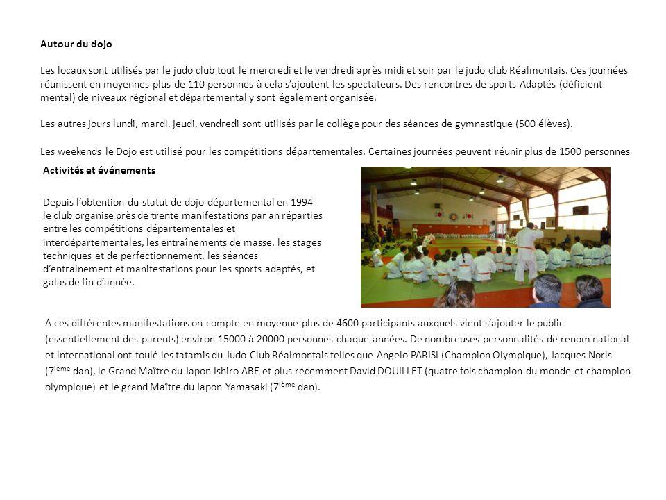 PRESENTATION DU PROJET DE RENOVATION DU DOJO Description du projet La rénovation du projet a pour principaux objectifs de répondre à la fréquentation croissante du dojo non seulement par le nombre grandissant des membres du Judo Club Réalmontais mais surtout et avant tout par la fréquentation chaque année en hausse des judokas du département et par la même de mettre enfin le bâtiment aux normes face à cette affluence de judokas, nombre pour lequel le dojo actuel atteint ses limites.