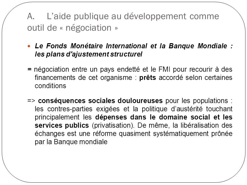 A.Laide publique au développement comme outil de « négociation » Le Fonds Monétaire International et la Banque Mondiale : les plans d'ajustement struc