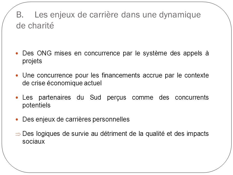 B.Les enjeux de carrière dans une dynamique de charité Des ONG mises en concurrence par le système des appels à projets Une concurrence pour les finan