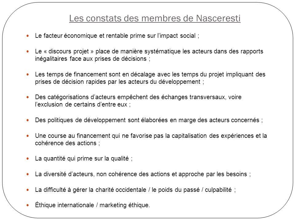 Les constats des membres de Nasceresti Le facteur économique et rentable prime sur limpact social ; Le « discours projet » place de manière systématiq