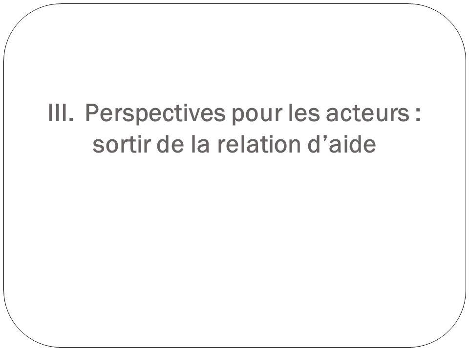 III.Perspectives pour les acteurs : sortir de la relation daide