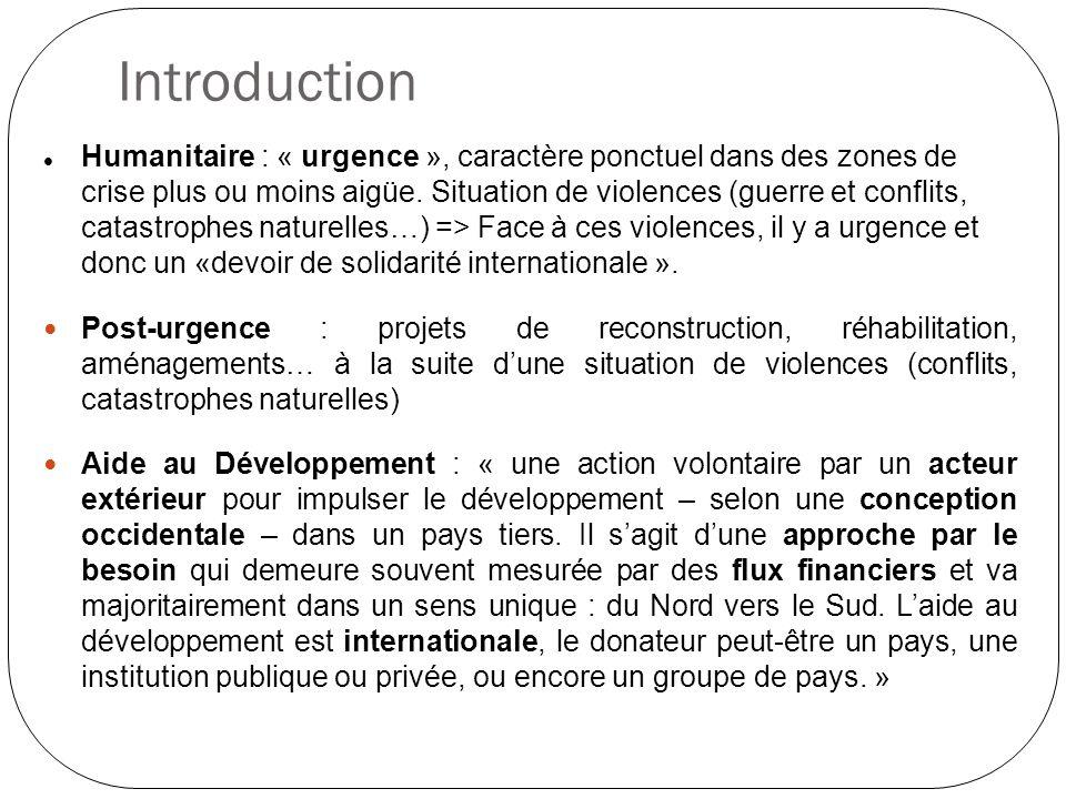 Introduction Humanitaire : « urgence », caractère ponctuel dans des zones de crise plus ou moins aigüe. Situation de violences (guerre et conflits, ca