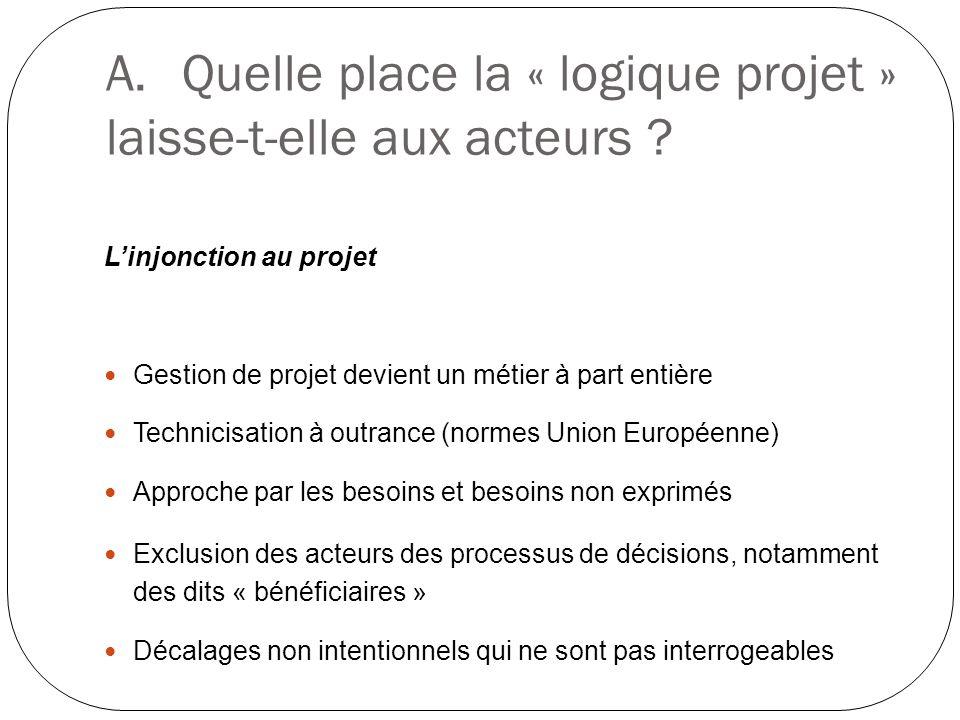 A.Quelle place la « logique projet » laisse-t-elle aux acteurs ? Linjonction au projet Gestion de projet devient un métier à part entière Technicisati