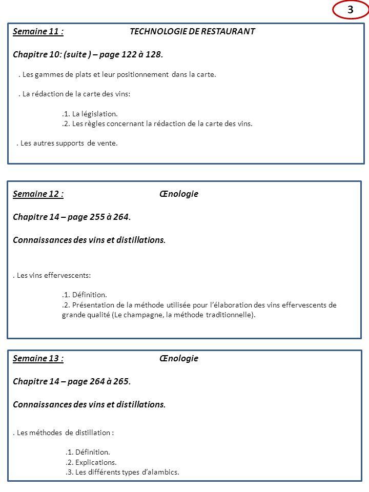 Semaine 14 : TECHNOLOGIE DE RESTAURANT Chapitre 12 - page 172 à 175.