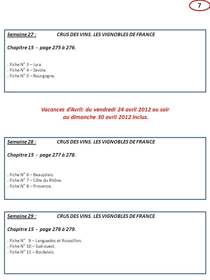 7. Fiche N° 9 – Languedoc et Roussillon.. Fiche N° 10 – Sud-ouest.. Fiche N° 11 – Bordelais. Semaine 29 : CRUS DES VINS. LES VIGNOBLES DE FRANCE Chapi
