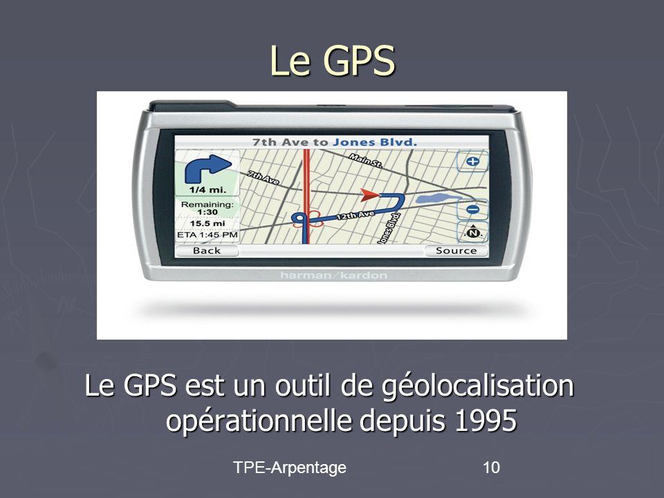 TPE-Arpentage10 Le GPS Le GPS est un outil de géolocalisation opérationnelle depuis 1995