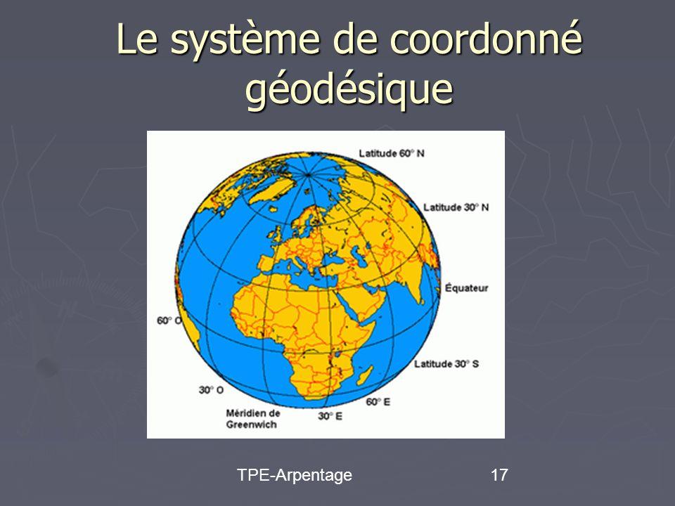 TPE-Arpentage17 Le système de coordonné géodésique