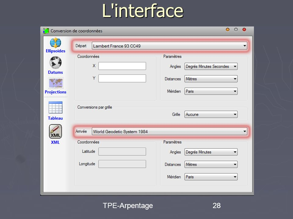 TPE-Arpentage28 L interface