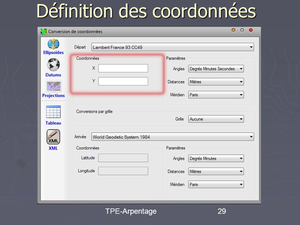 TPE-Arpentage29 Définition des coordonnées