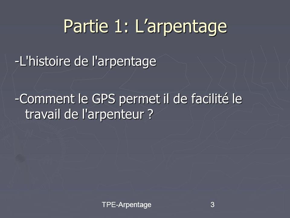 3 Partie 1: Larpentage -L histoire de l arpentage -Comment le GPS permet il de facilité le travail de l arpenteur
