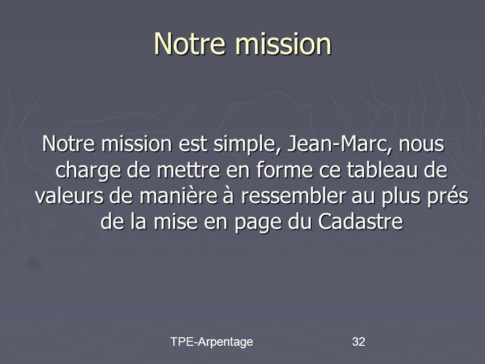 TPE-Arpentage32 Notre mission Notre mission est simple, Jean-Marc, nous charge de mettre en forme ce tableau de valeurs de manière à ressembler au plus prés de la mise en page du Cadastre