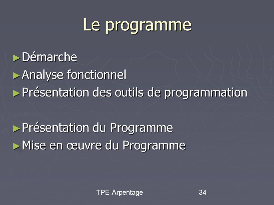 TPE-Arpentage34 Le programme Démarche Démarche Analyse fonctionnel Analyse fonctionnel Présentation des outils de programmation Présentation des outils de programmation Présentation du Programme Présentation du Programme Mise en œuvre du Programme Mise en œuvre du Programme