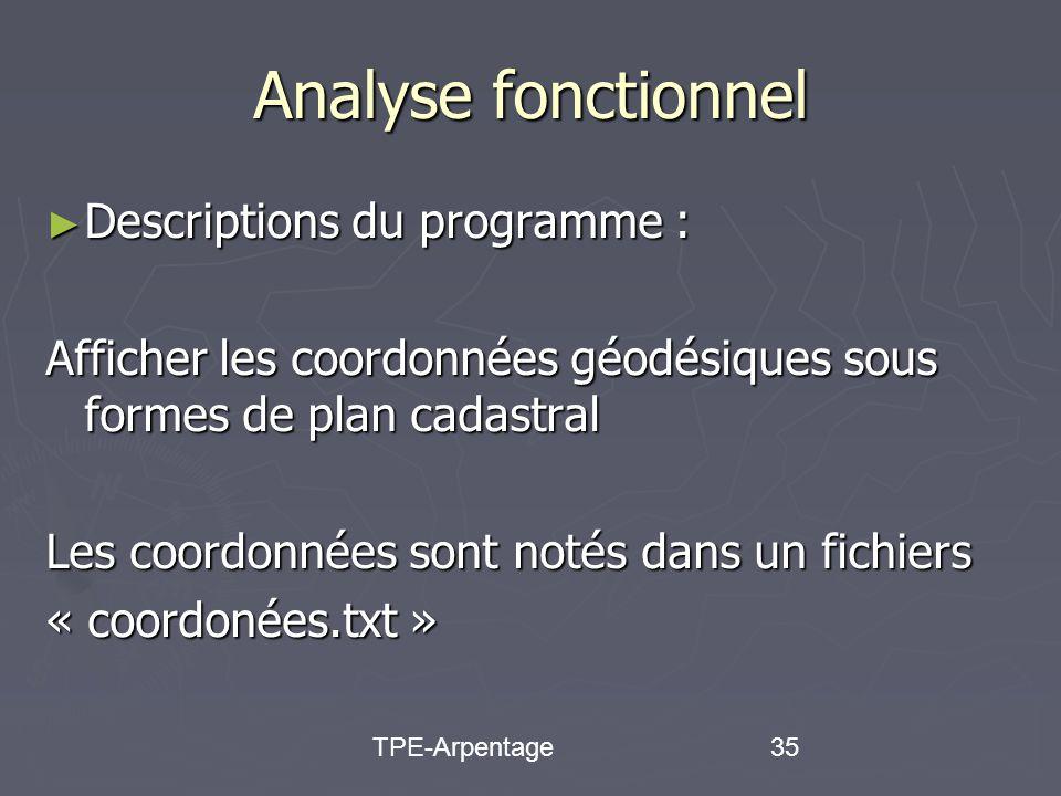 TPE-Arpentage35 Analyse fonctionnel Descriptions du programme : Descriptions du programme : Afficher les coordonnées géodésiques sous formes de plan cadastral Les coordonnées sont notés dans un fichiers « coordonées.txt »