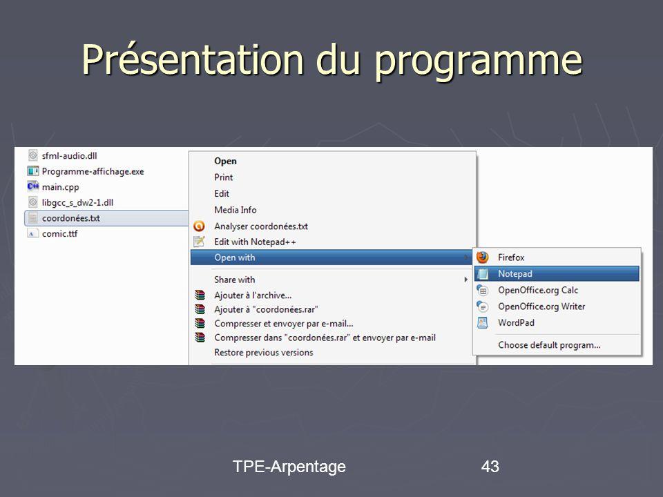 TPE-Arpentage43 Présentation du programme