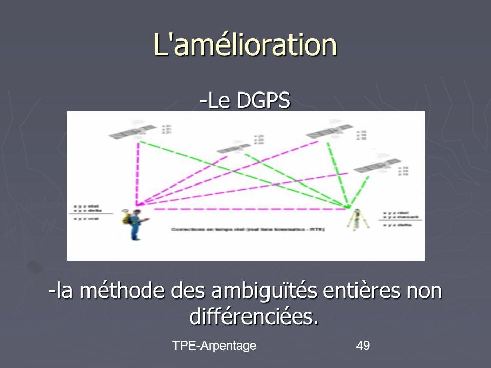 TPE-Arpentage49 L amélioration -Le DGPS -la méthode des ambiguïtés entières non différenciées.