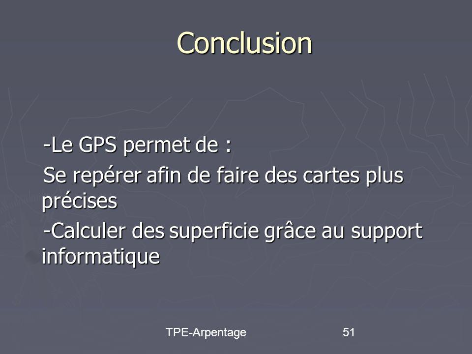 TPE-Arpentage51 Conclusion -Le GPS permet de : -Le GPS permet de : Se repérer afin de faire des cartes plus précises Se repérer afin de faire des cartes plus précises -Calculer des superficie grâce au support informatique -Calculer des superficie grâce au support informatique