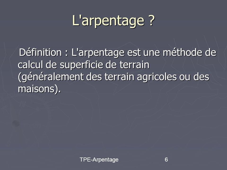 TPE-Arpentage27 Le programme