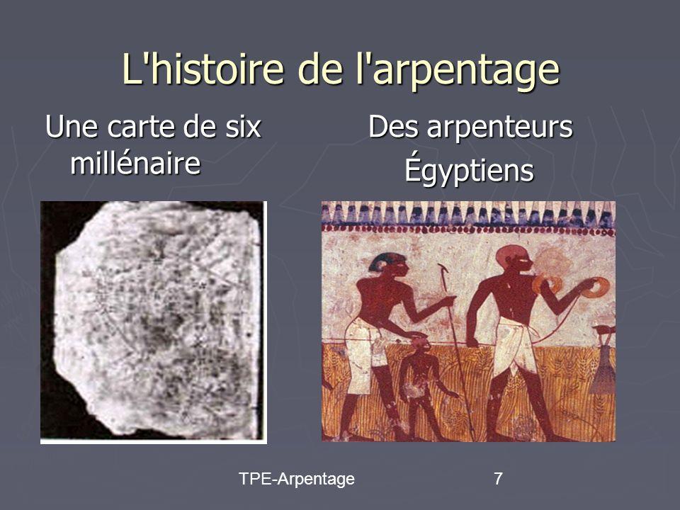 TPE-Arpentage7 Une carte de six millénaire Des arpenteurs Des arpenteursÉgyptiens L histoire de l arpentage