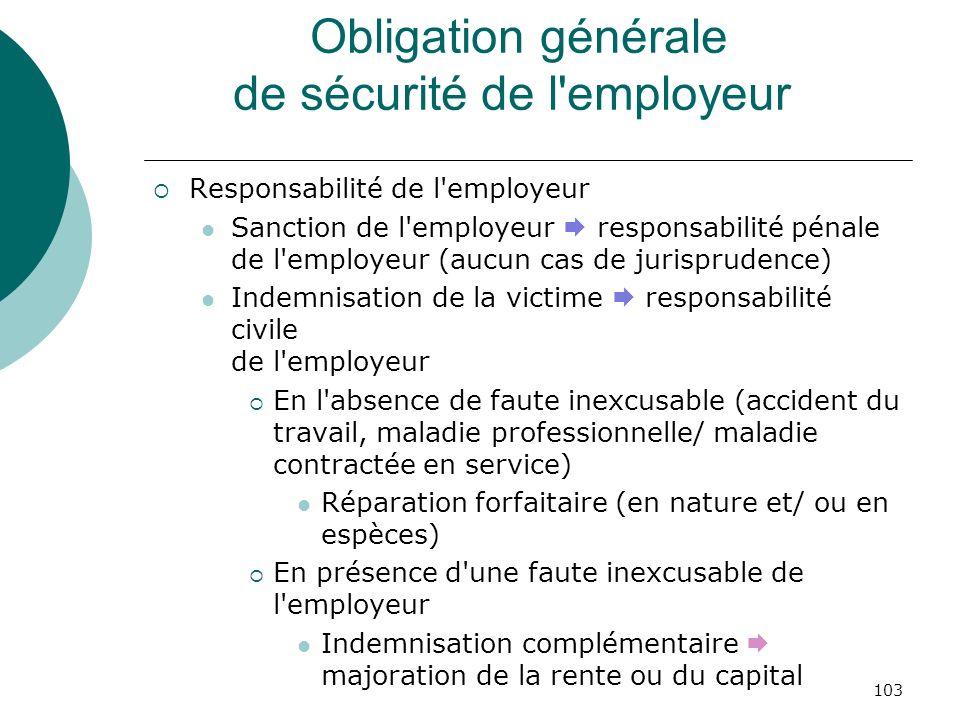 103 Obligation générale de sécurité de l'employeur Responsabilité de l'employeur Sanction de l'employeur responsabilité pénale de l'employeur (aucun c