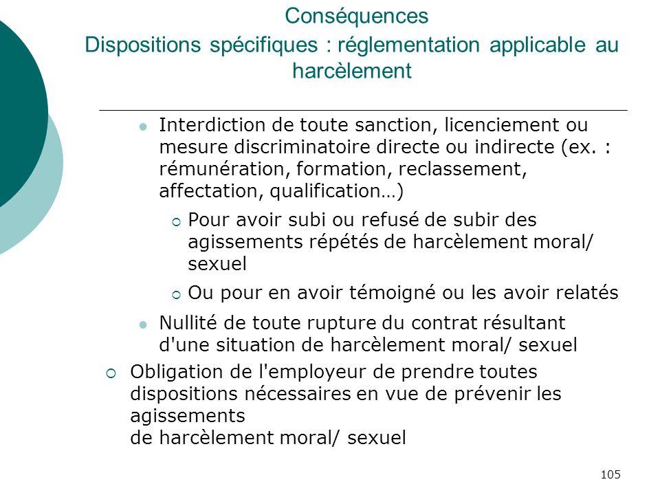 105 Conséquences Dispositions spécifiques : réglementation applicable au harcèlement Interdiction de toute sanction, licenciement ou mesure discrimina