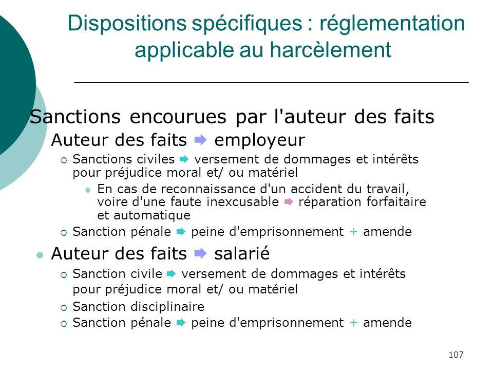 107 Dispositions spécifiques : réglementation applicable au harcèlement Sanctions encourues par l'auteur des faits Auteur des faits employeur Sanction