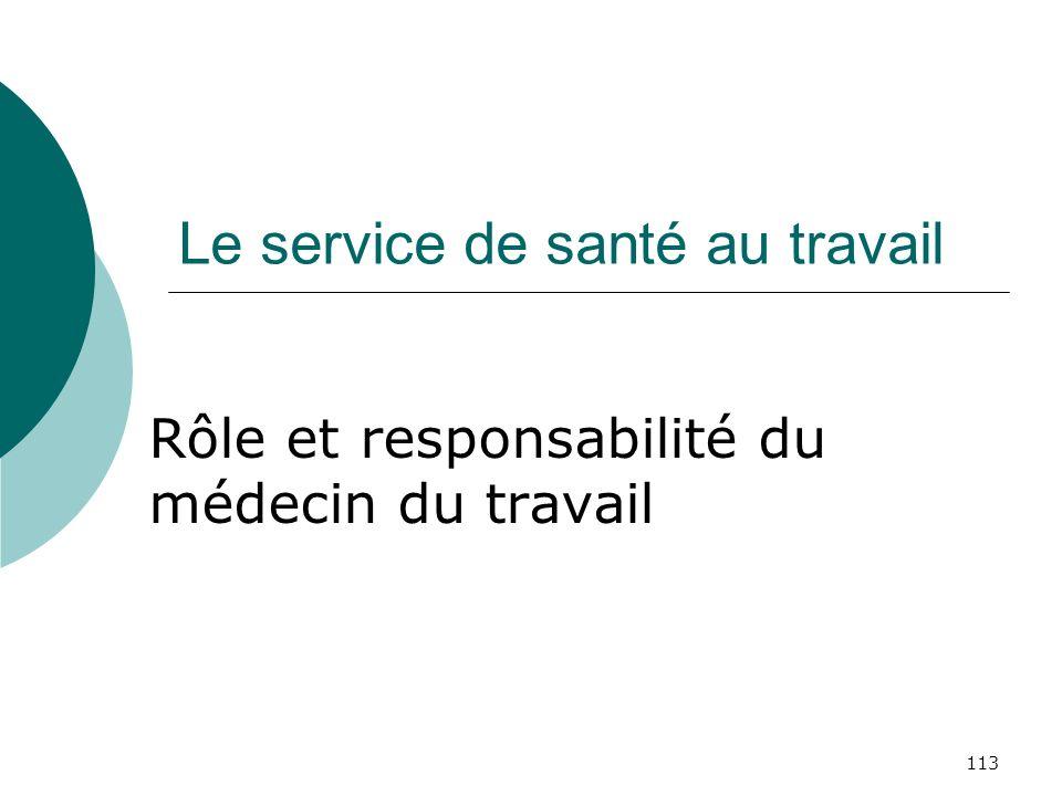 113 Le service de santé au travail Rôle et responsabilité du médecin du travail