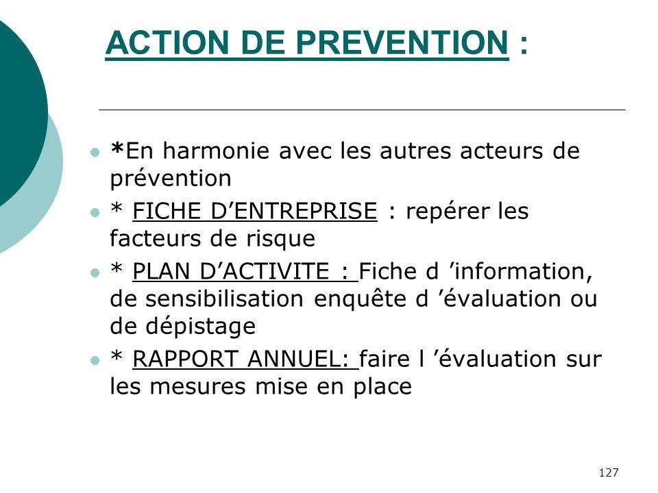 127 ACTION DE PREVENTION : *En harmonie avec les autres acteurs de prévention * FICHE DENTREPRISE : repérer les facteurs de risque * PLAN DACTIVITE :