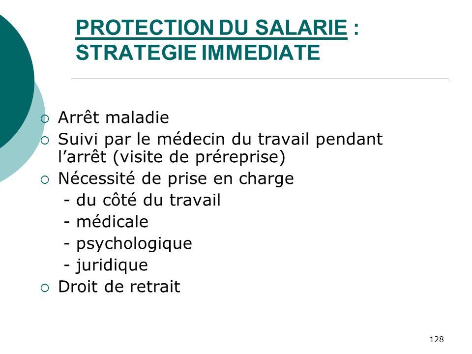 128 PROTECTION DU SALARIE : STRATEGIE IMMEDIATE Arrêt maladie Suivi par le médecin du travail pendant larrêt (visite de préreprise) Nécessité de prise