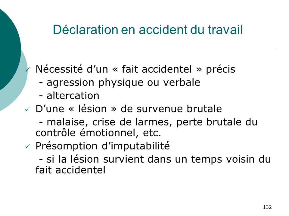 132 Déclaration en accident du travail Nécessité dun « fait accidentel » précis - agression physique ou verbale - altercation Dune « lésion » de surve