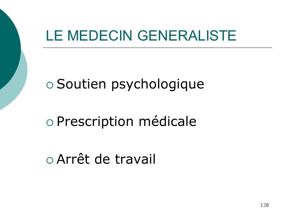 138 LE MEDECIN GENERALISTE Soutien psychologique Prescription médicale Arrêt de travail