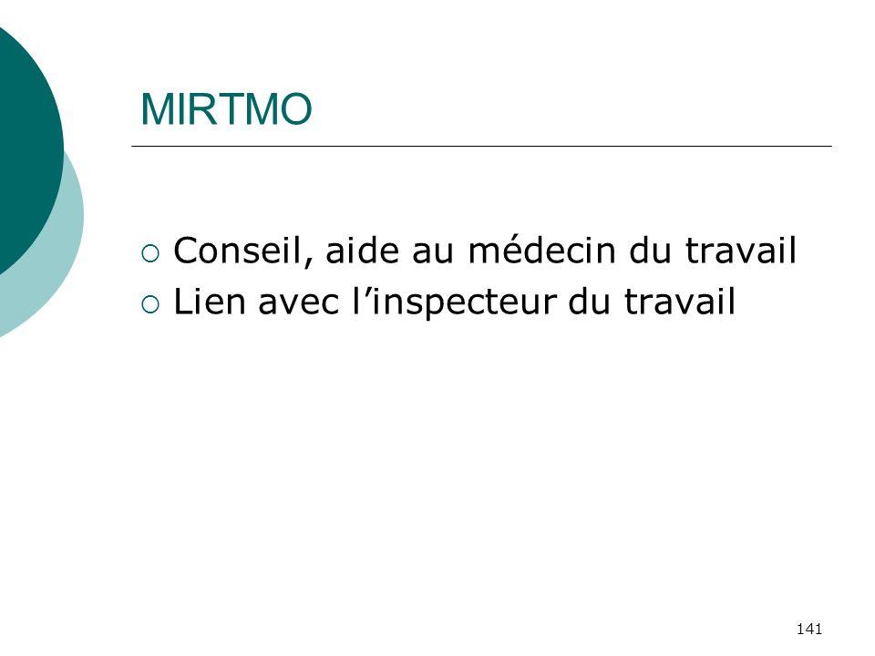 141 MIRTMO Conseil, aide au médecin du travail Lien avec linspecteur du travail