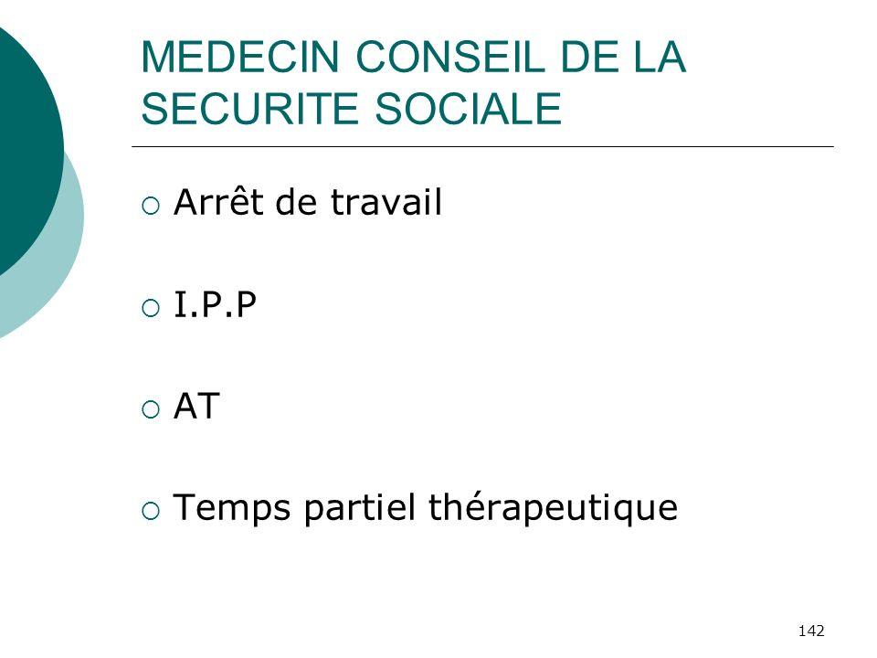 142 MEDECIN CONSEIL DE LA SECURITE SOCIALE Arrêt de travail I.P.P AT Temps partiel thérapeutique