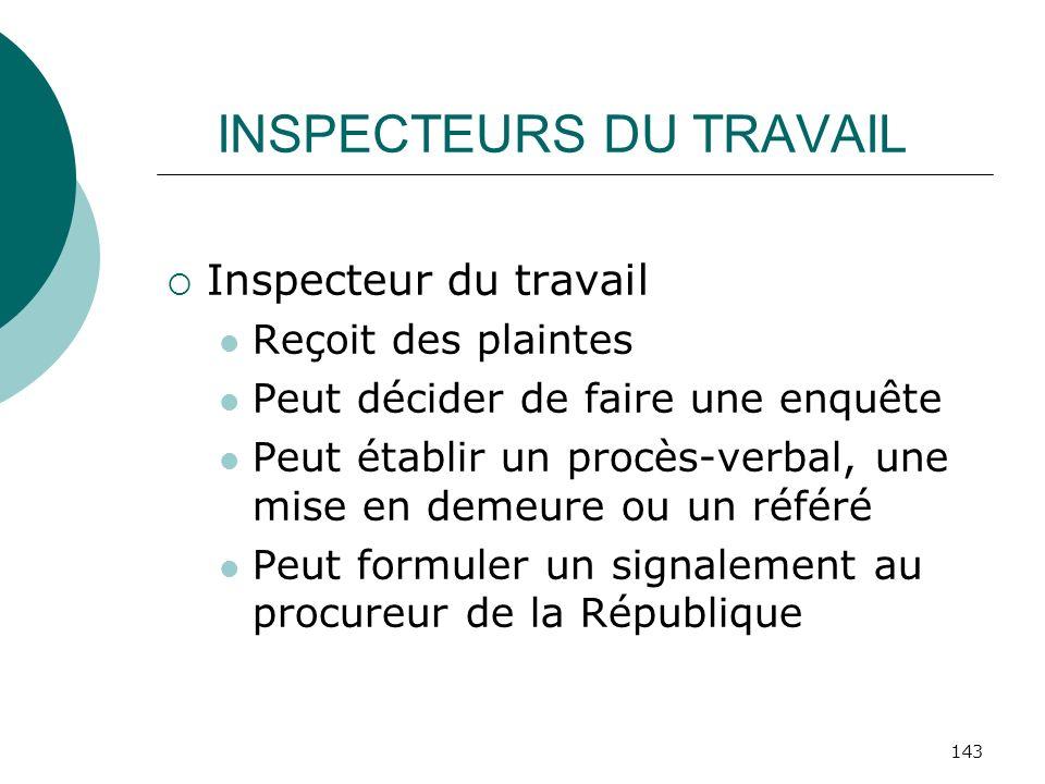 143 INSPECTEURS DU TRAVAIL Inspecteur du travail Reçoit des plaintes Peut décider de faire une enquête Peut établir un procès-verbal, une mise en deme