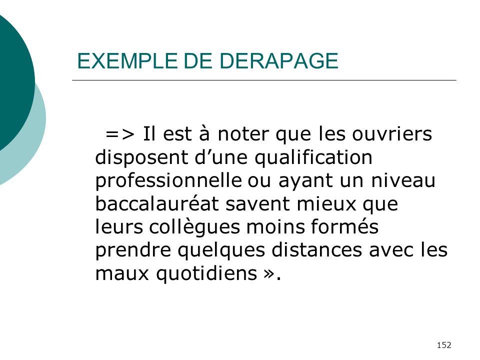 152 EXEMPLE DE DERAPAGE => Il est à noter que les ouvriers disposent dune qualification professionnelle ou ayant un niveau baccalauréat savent mieux q