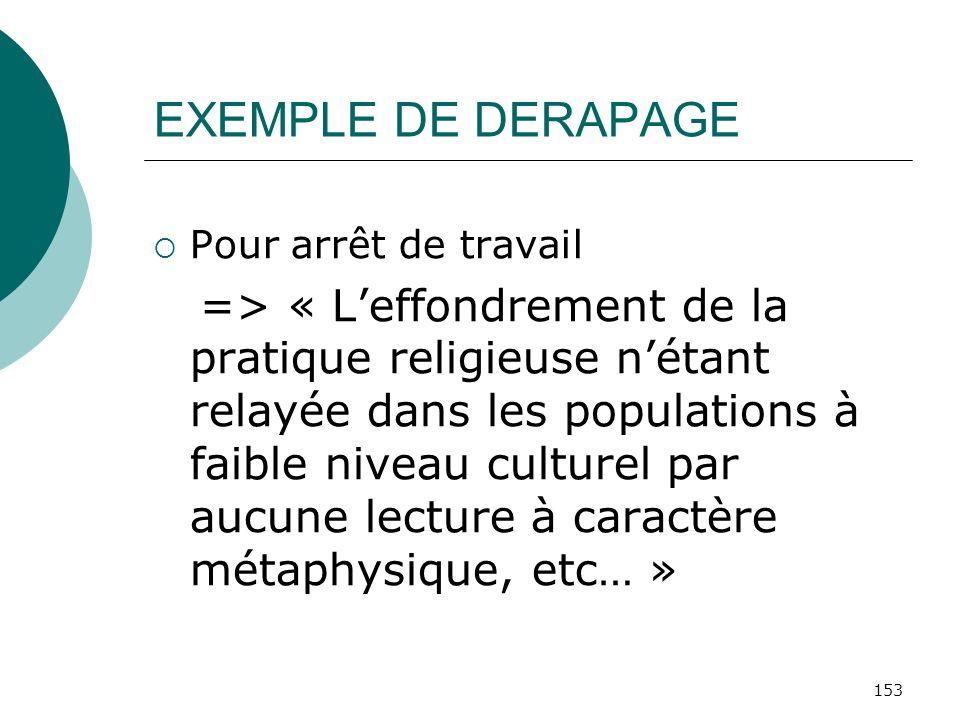 153 EXEMPLE DE DERAPAGE Pour arrêt de travail => « Leffondrement de la pratique religieuse nétant relayée dans les populations à faible niveau culture