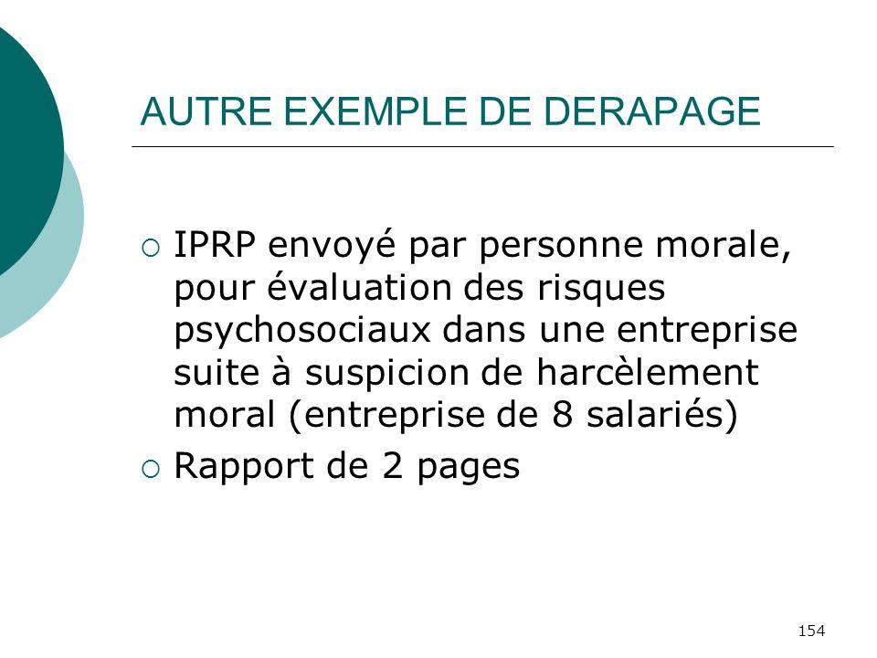 154 AUTRE EXEMPLE DE DERAPAGE IPRP envoyé par personne morale, pour évaluation des risques psychosociaux dans une entreprise suite à suspicion de harc