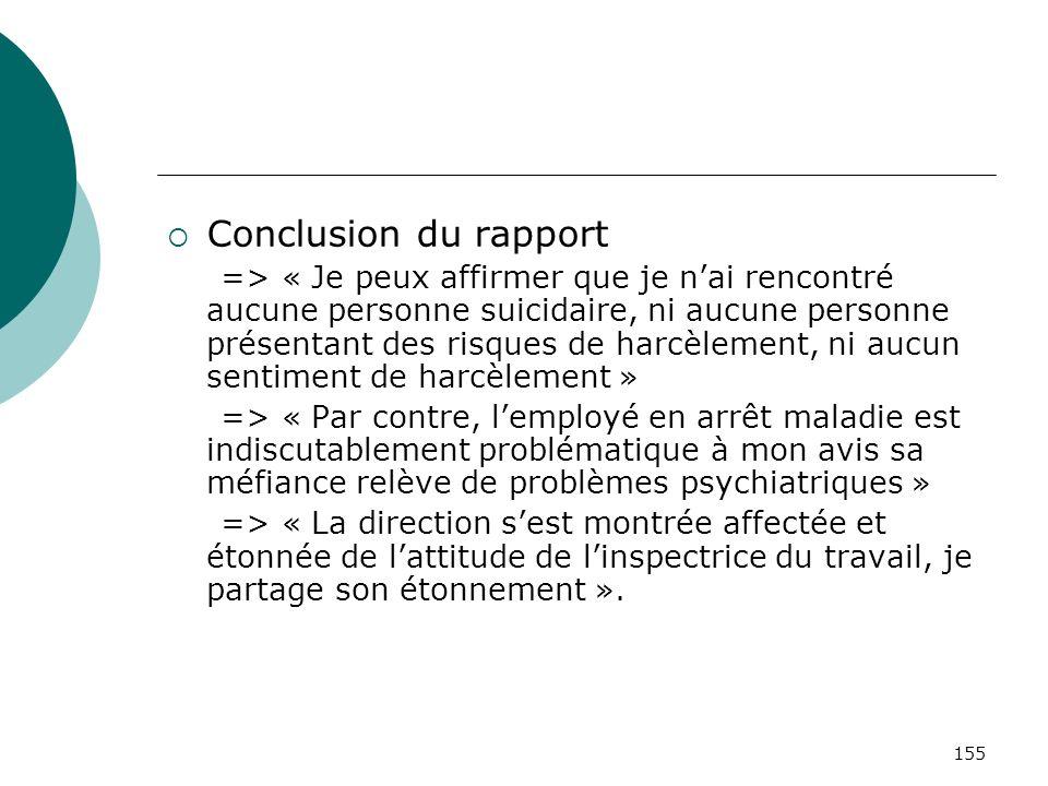 155 Conclusion du rapport => « Je peux affirmer que je nai rencontré aucune personne suicidaire, ni aucune personne présentant des risques de harcèlem