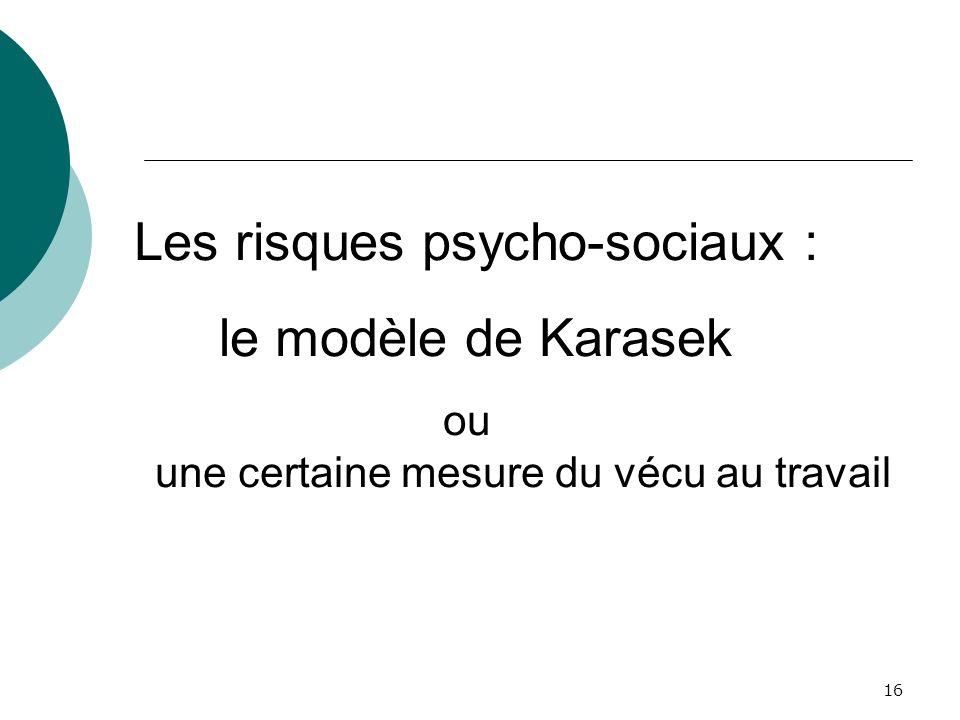 16 Les risques psycho-sociaux : le modèle de Karasek ou une certaine mesure du vécu au travail